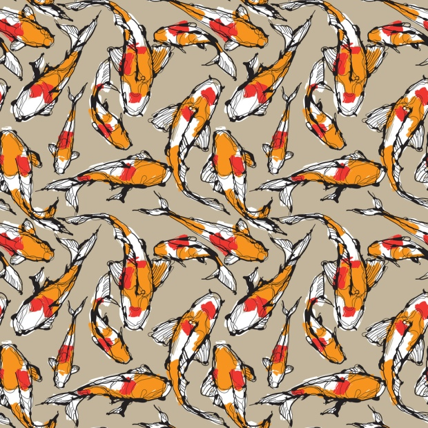 Textile design koi fish first bar for Koi fish print fabric